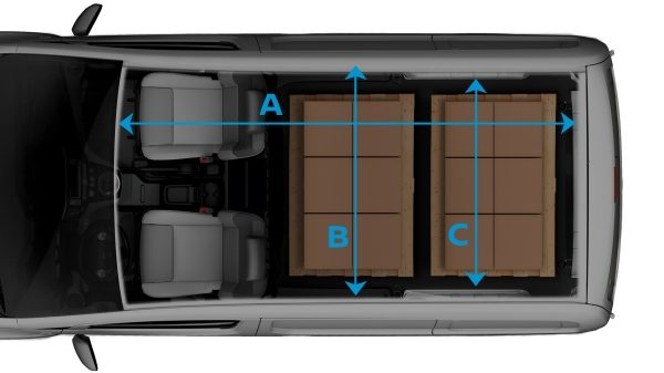 Новият Nissan e-NV200 изглед отгоре с прозрачен ефект върху товара и линии за показване на размерите