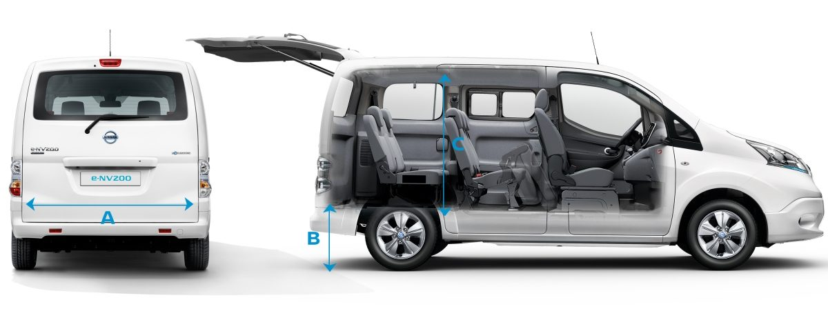 New Nissan e-NV200 Evalia composition with a rear view on the left with lines to show dimensions and a profile view with ghost effect on the right with lines to show dimensions