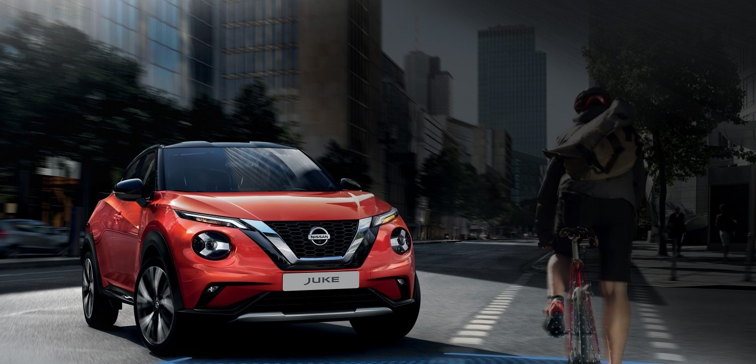 Juke front with Nissan Intelligent Mobility illustration.
