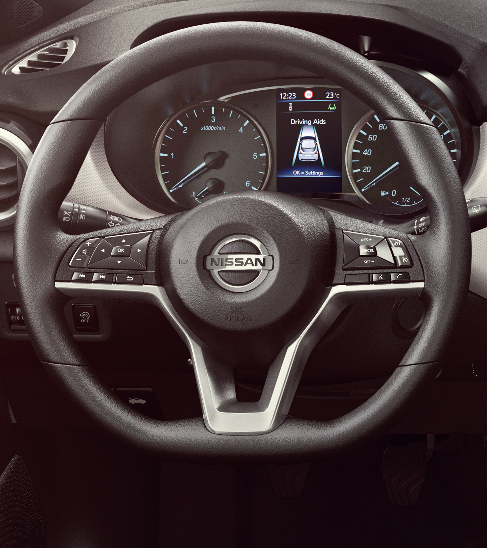 Nissan Micra D shaped steering wheel