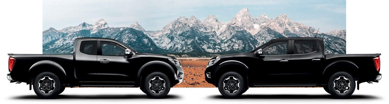Снимка на два Nissan Navara (King Cab и Double Cab) в профил