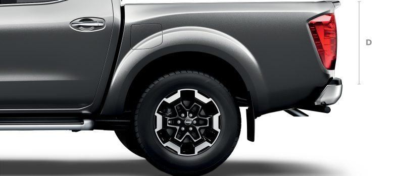 Nissan Navara profile detail shot of the rear wheel