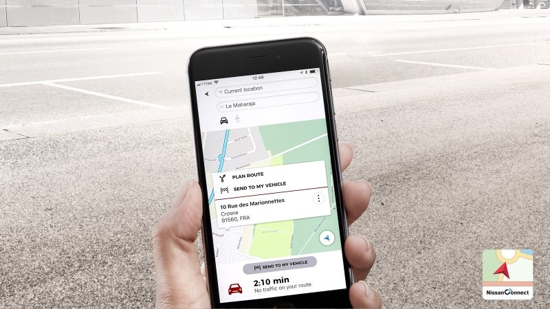 Nissan QASHQAI door to door navigation app screen